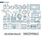 object on desk line icons... | Shutterstock .eps vector #580299862