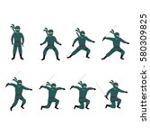 set of ninja character design... | Shutterstock .eps vector #580309825