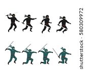 set of ninja character design... | Shutterstock .eps vector #580309972