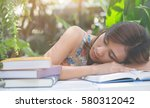 hipster woman teenager asleep... | Shutterstock . vector #580312042
