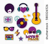 trendy musical patches ... | Shutterstock .eps vector #580326526