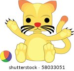 simple cute yellow kitty cat... | Shutterstock .eps vector #58033051