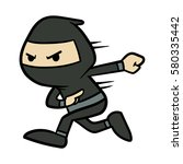 cartoon ninja running vector... | Shutterstock .eps vector #580335442