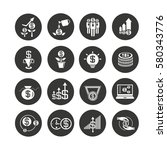 investment icon set in circle... | Shutterstock .eps vector #580343776