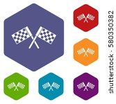 crossed chequered flags icons... | Shutterstock . vector #580350382