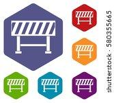 traffic barrier icons set... | Shutterstock . vector #580355665