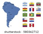 south america map and flags | Shutterstock .eps vector #580362712