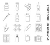 different drugs icons set.... | Shutterstock . vector #580363516