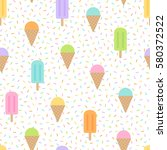 Cute Ice Cream Seamless Vector...
