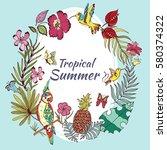 beautiful exotic tropical birds ... | Shutterstock .eps vector #580374322