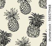 vector pineapples hand drawn... | Shutterstock .eps vector #580375468