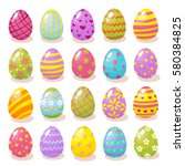 Set Of Color Easter Eggs With...