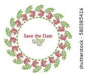 the wreath of viburnum berries... | Shutterstock .eps vector #580385416