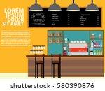 modern flat design coffee shop...   Shutterstock .eps vector #580390876