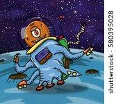 crazy strange space alien or... | Shutterstock . vector #580395028