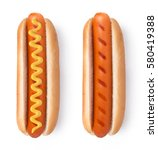 Stock photo hot dog with mustard isolated on white background 580419388
