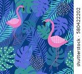 tropical summer seamless... | Shutterstock .eps vector #580422202