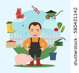 farmer with pig and set of... | Shutterstock .eps vector #580431142