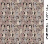 seamless pattern with funny... | Shutterstock .eps vector #580444312