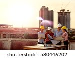multi ethnic group of engineers ... | Shutterstock . vector #580446202