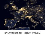 city lights on world map.... | Shutterstock . vector #580449682