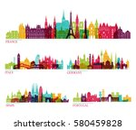skyline detailed silhouette set ... | Shutterstock .eps vector #580459828