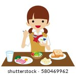schoolgirl eating  breakfast | Shutterstock .eps vector #580469962