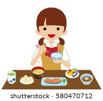 schoolgirl eating japanese... | Shutterstock .eps vector #580470712