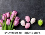 fresh pink tulip flowers and... | Shutterstock . vector #580481896