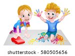 Cartoon Boy And Girl Playing...