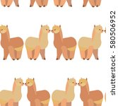 seamless pattern with llama...   Shutterstock .eps vector #580506952