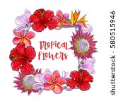 square frame of tropical... | Shutterstock .eps vector #580515946