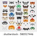 Stock vector set of photo booth props masks of wild and domestic animals 580517446