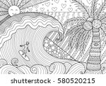 a man surfing on big wave in... | Shutterstock .eps vector #580520215