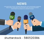 set of microphone isolated on... | Shutterstock .eps vector #580520386
