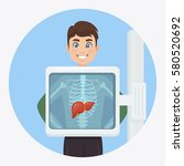 adult man with liver isolated... | Shutterstock .eps vector #580520692
