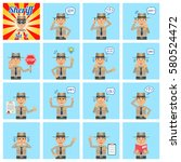 big set of sheriff emoticons... | Shutterstock .eps vector #580524472