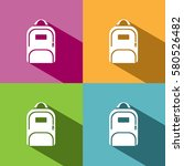 backpack icon with shadow on... | Shutterstock .eps vector #580526482