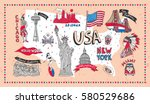 illustrated symbol set with usa ... | Shutterstock .eps vector #580529686