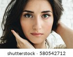 beautiful woman natural casual... | Shutterstock . vector #580542712