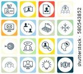 set of 16 business management... | Shutterstock . vector #580543852