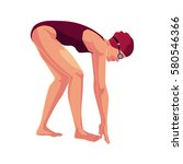 young and slim female swimmer... | Shutterstock .eps vector #580546366