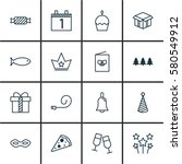 set of 16 happy new year icons. ... | Shutterstock . vector #580549912