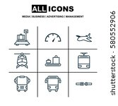 set of 9 vehicle icons.... | Shutterstock . vector #580552906