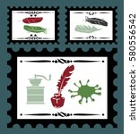 stamps set with vintage objects.... | Shutterstock .eps vector #580556542