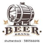 vintage barrel of beer logo.... | Shutterstock .eps vector #580566646