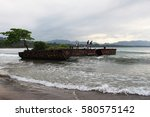 fishermen on boat in caribbean... | Shutterstock . vector #580575142