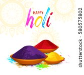 happy holi vector elements for... | Shutterstock .eps vector #580575802