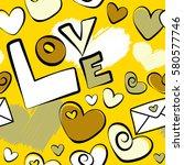 seamless pattern valentines day ... | Shutterstock .eps vector #580577746