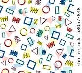 retro memphis geometric line... | Shutterstock .eps vector #580577848